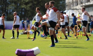 The England squad at a training session in Miyazaki.