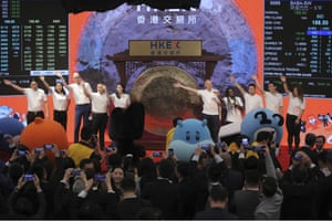 Alibaba Group's listing ceremony at the Hong Kong Stock Exchange (HKEX) in Hong Kong today.