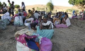 Ethiopian refugees gather in Qadarif region, eastern Sudan