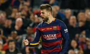Just look at his face... Gerard Piqué celebrates giving Barcelona the lead.