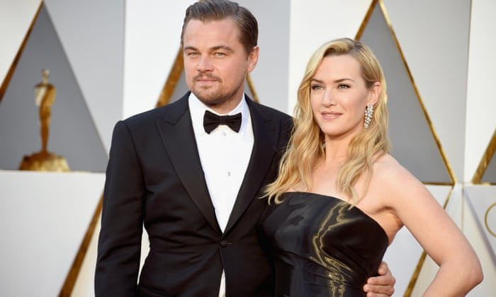 Best actor winner Leonardo DiCaprio and his one-time Titanic co-star Kate Winslet