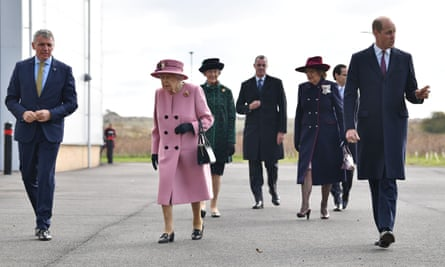 The Queen and Prince William arrive with Dstl's chief executive, Gary Aitkenhead