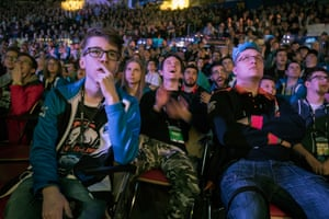 Fans watching a killing in the game on the big screens during the Intel Extreme Masters Counter-Strike eSports tournament at Katowice's Spodek Arena in March 2017.