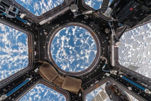 Cupola with Clouds and Ocean International Space Station – ISS Low Earth Orbit, Space, 2017 Stunning pattern of clouds and light over the ocean. The organic shapes of the clouds contrast with the geometric lines and shapes of the Cupola's interior.