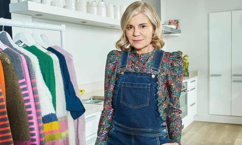 Marielle Wyse Founder of Wyse London, at home in her kitchen with some of her clothing collections