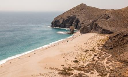 """Playa de los muertos. Panoramic view of """"playa de los muertos"""" (the beach of the dead) in Carboneras, Almeria from a nearby lookout."""