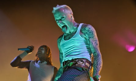 Prodigy vocalist Keith Flint on stage