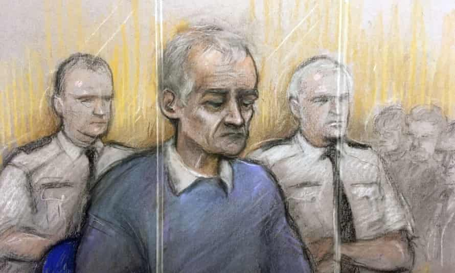 A court artist's picture of Bennell appearing at Liverpool crown court.