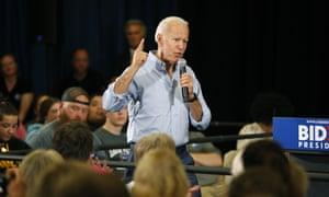 Biden has been drawn with Bernie Sanders and Kamala Harris in the 'purple' debate group.