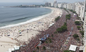 Revellers during carnival celebrations at Copacabana beach
