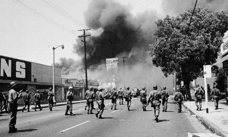 National Guardsmen on the streets during the Watts riots, Los Angeles, August 1965.