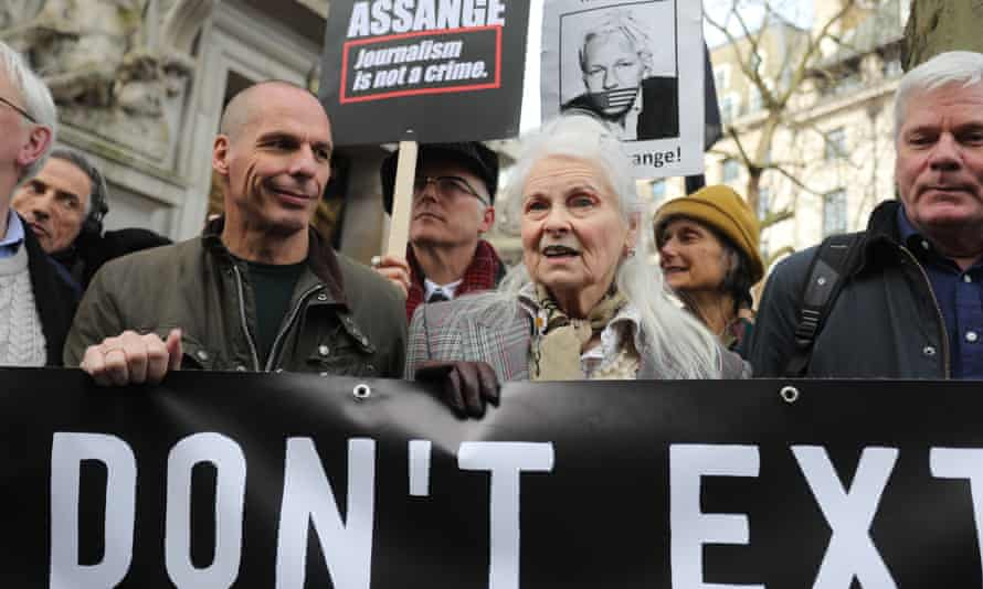 Supporters of Julian Assange, including Yanis Varoufakis and Vivienne Westwood begin a march on 22 February.
