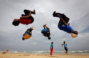 Exercise on the beach in Dakar