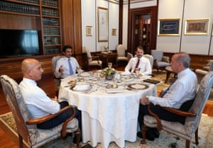 They were joined by Turkish Treasury and Finance Minister Berat Albayrak (2nd right) for lunch