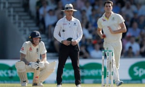Ben Stokes watches anxiously as Jack Leach faces a Pat Cummins delivery.