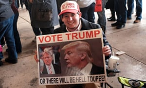 A Donald Trump supporter waiting to hear him speak at the Mississippi Coast Coliseum on Saturday 2 January in Biloxi.