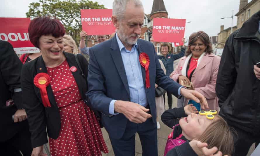 Jeremy Corbyn and Labour candidate Sonia Barker on the campaign trail in Lowestoft, Suffolk.