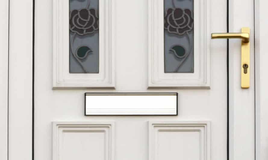 A white front door