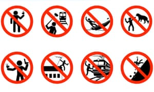 Mock road signs created by the Russian interior ministry.