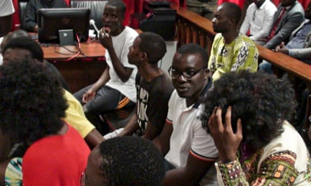 Some of the political activists in court in Luanda on Monday