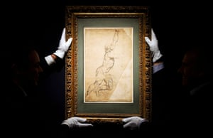 New York, USA Rubens drawing 'Nude Study of Young Man with Raised Arms' was auctioned for a record $8.2 million at Sotheby's, New York.