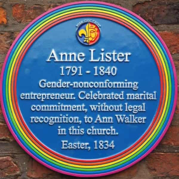 The Anne Lister plaque at Holy Trinity church, York.