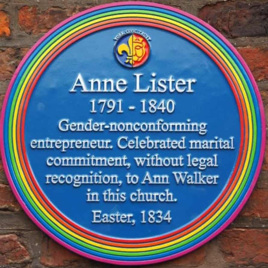 The LGBT memorial plaque unveiled at Holy Trinity church in York to Anne Lister (1791-1840).