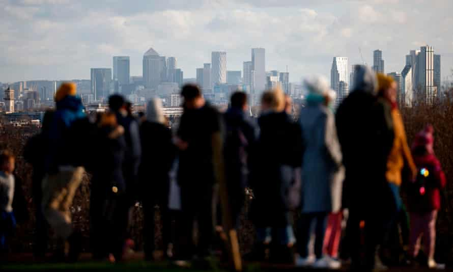 A view of the London skyline from Parliament Hill on Hampstead Heath.