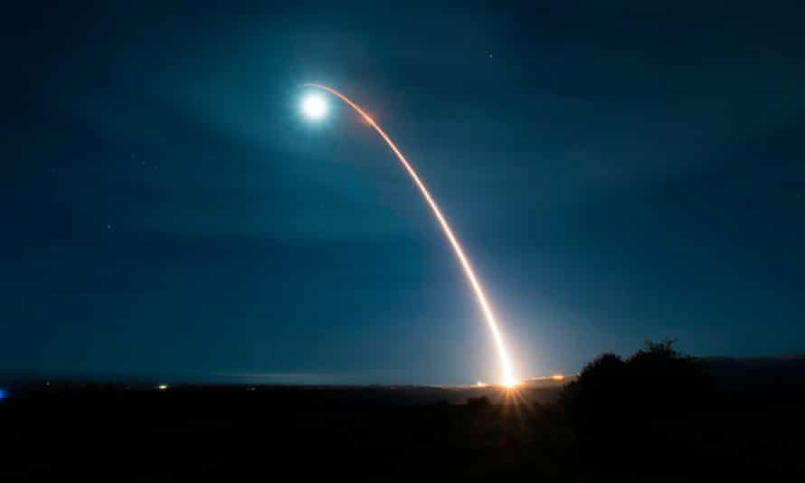 An unarmed Minuteman III intercontinental ballistic missile is launched during a developmental test on 5 February 2020, at Vandenberg air force base, California.