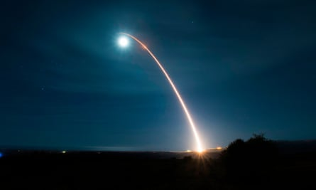 The US carrying out an ICBM test launch