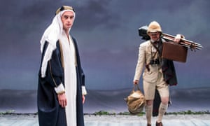 Injured spirit … Jack Laskey as TE Lawrence with Sam Alexander as Lowell Thomas in Lawrence After Arabia at Hampstead theatre, London.
