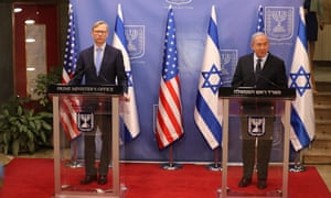 The US special representative for Iran, Brian Hook (left) and Israeli prime minister, Benjamin Netanyahu in Jerusalem in June. Hook is calling for an extension of the arms embargo on Iran.