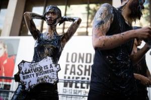 London, England: Peta activists outside London fashion week