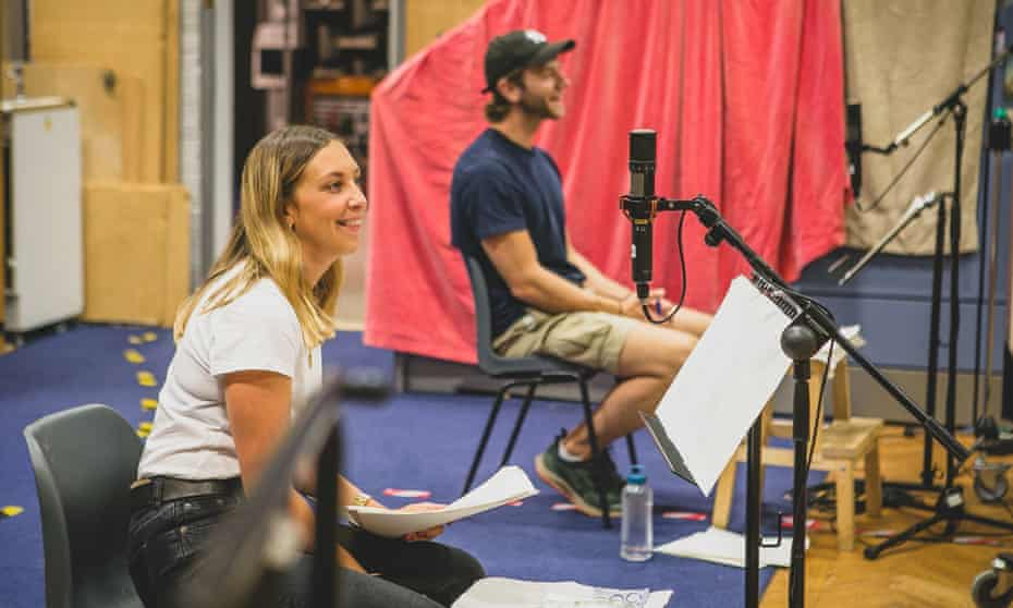 Hollie Chapman and Wilf Scolding, who play Alice and Christopher Carter, in the studio in Birmingham, in August.