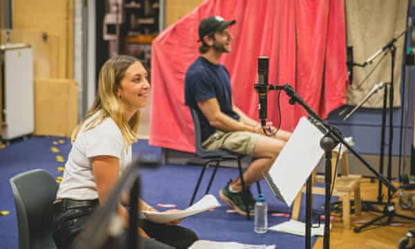 Hollie Chapman (Alice Carter) and Wilf Scolding (Chris Carter) recording The Archers, August 2020.