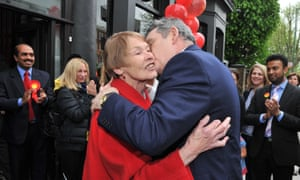 Vote winner: at a Labour Party meeting with Gordon Brown in 2010.