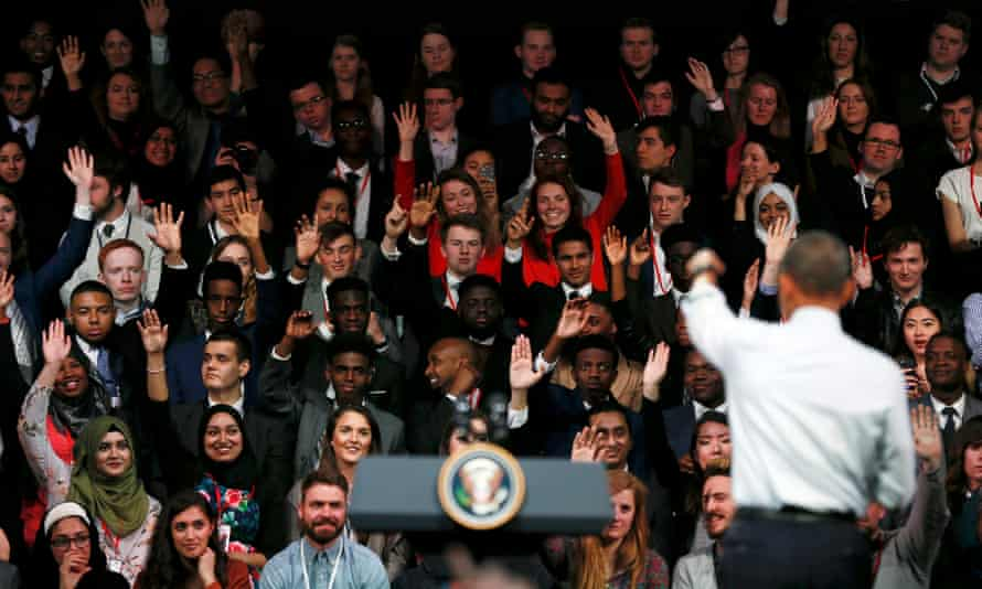 Obama addressing students at his  town hall meeting in London