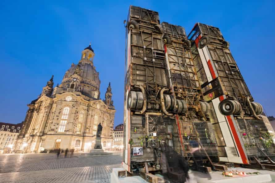 Trigger … bus sculpture by Syrian-German artist Manaf Halbouni beside the historic Frauenkirche.