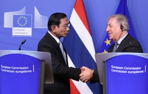 Chatchai Sarikulya, Thailand's deputy prime minister, with Karmenu Vella, the EU commissioner for maritime affairs and fisheries