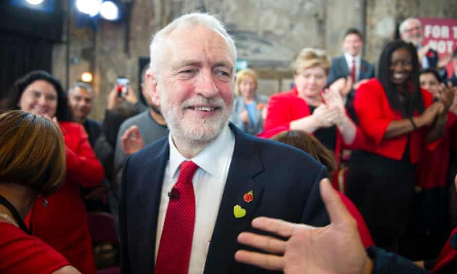 Jeremy Corbyn at Labour's election campaign launch.