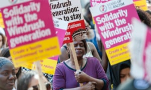 A protest over the Windrush scandal in May