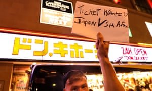 Ireland fans attempting to swap tickets in Japan on Friday.