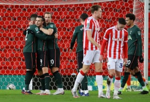 Bale celebrates scoring for Tottenham.