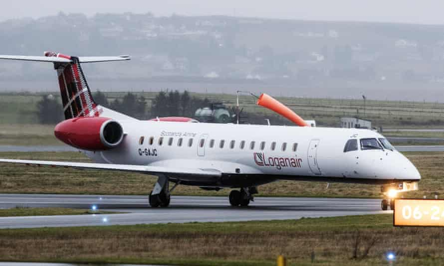 a loganair plane on runway