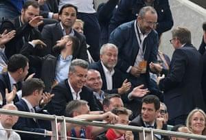 Chelsea owner Roman Abramovich applauds his team .