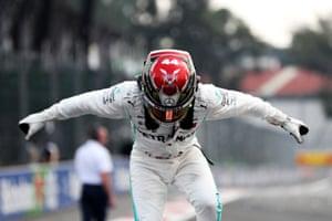 Race winner Lewis Hamilton.