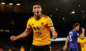Wolverhampton Wanderers' Raul Jimenez celebrates scoring their first goal.