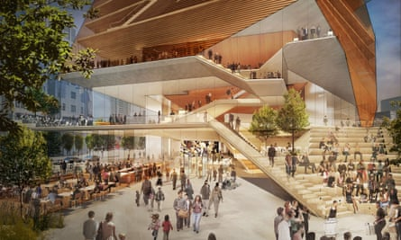 The pedestrian plaza and foyer shown in the concert hall design.