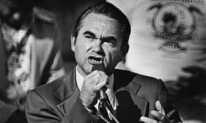 Segregationist politician George Wallace addresses a 1976 rally in California. In 1968, he attracted 13.5% of the vote and won five southern states.
