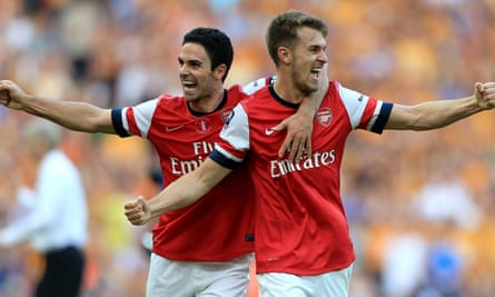 Mikel Arteta and Aaron Ramsey celebrate after Arsenal win FA Cup in 2014